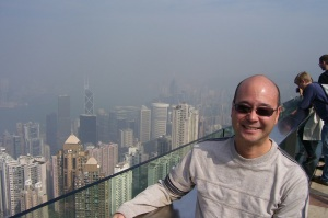 "Devin Imoto from ""The Peak"" right above central Hong Kong"